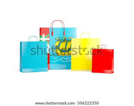 Flag of saint pierre and miquelon on shopping bags. 3D illustration