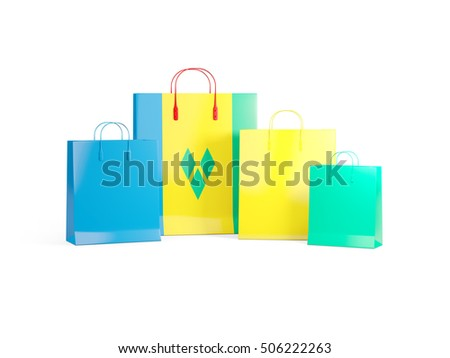 Flag of saint vincent and the grenadines on shopping bags. 3D illustration