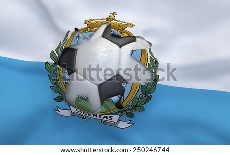 Flag of San Marino and soccer ball, hole in flag