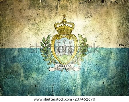 flag of San Marino. Old vintage paper texture. - stock photo