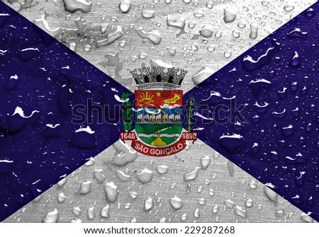 flag of Sao Goncalo with rain drops