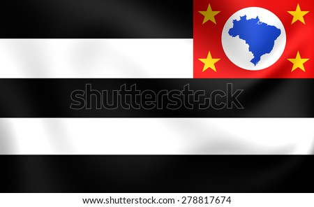 Flag of Sao Paulo State (reverse side), Brazil. Close Up. - stock photo