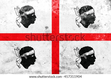 Flag of Sardinia Region, Italy, with a vintage and old look - stock photo