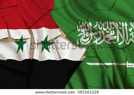 Flag of Saudi Arabia and Syria. Saudi Arabian involvement in the Syrian War has involved the large-scale supply of weapons and ammunition to various rebel groups in Syria during the Syrian civil war. - stock photo