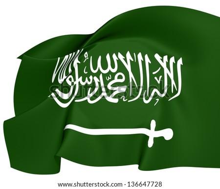 Flag of Saudi Arabia. Close Up. - stock photo