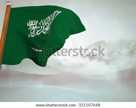 Flag of Saudi Arabia floating in the wind on abstract background