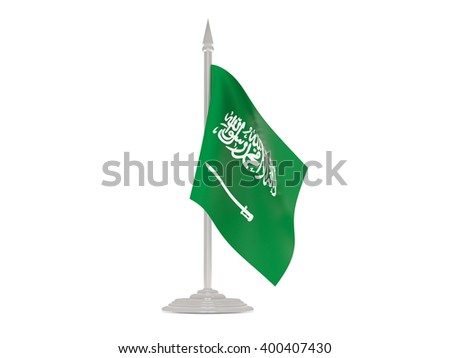 Flag of saudi arabia  with flagpole isolated on white. 3d render - stock photo