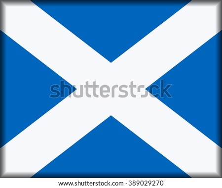 Flag of Scotland, Saltire of St Andrew, button with official colour and ratio 4:5. - stock photo