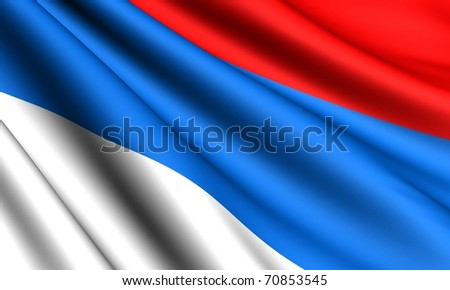 Flag of Serbia. Close up.