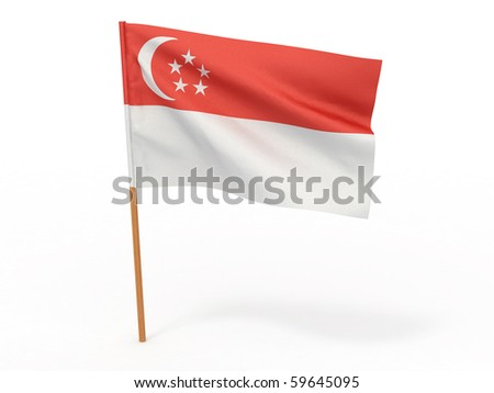 Flag of Singapore. 3d - stock photo