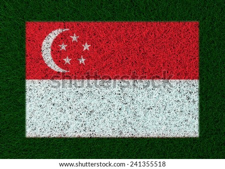 flag of Singapore grass texture - stock photo