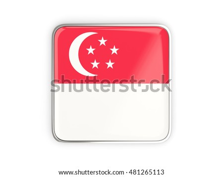 Flag of singapore, square icon with metallic border. 3D illustration