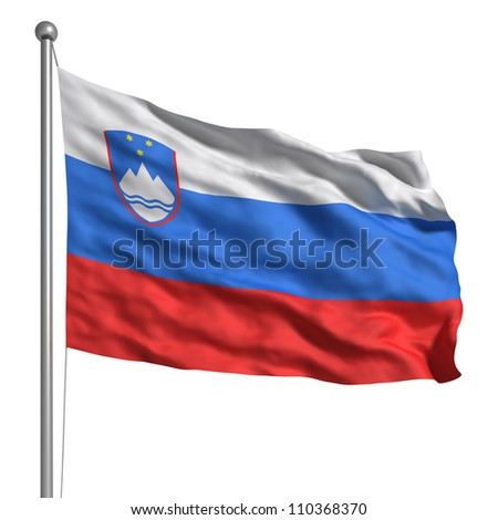 Flag of Slovenia. Rendered with fabric texture (visible at 100%). Clipping path included.