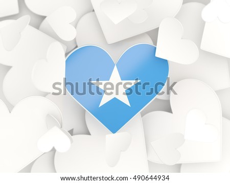 Flag of somalia, heart shaped stickers background. 3D illustration