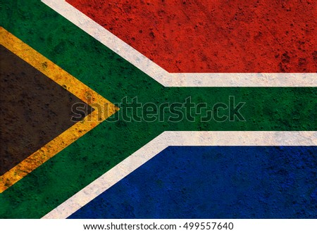 Flag of South Africa on rusty metal