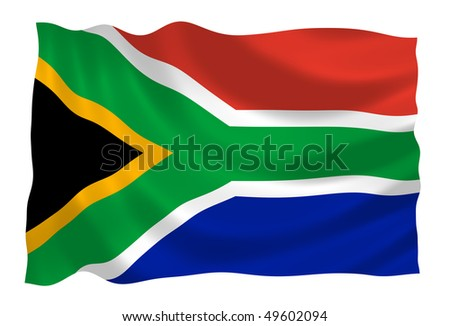 Flag of South Africa waving in the wind - stock photo