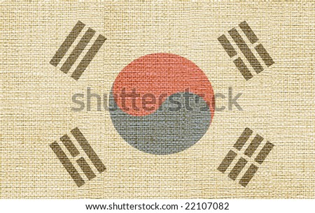 flag of south corea canvas - stock photo