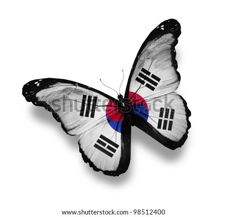 Flag of South Korea butterfly, isolated on white - stock photo