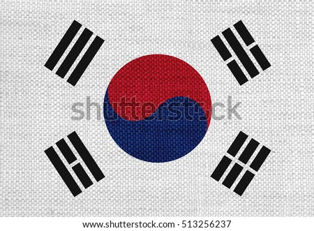 Flag of South Korea on old linen