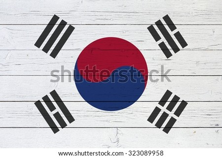 Flag of South Korea on wooden background - stock photo