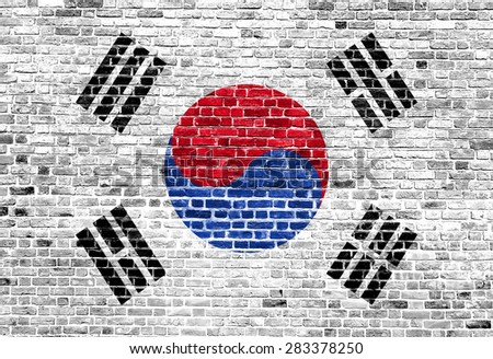 Flag of South Korea painted on brick wall, background texture - stock photo