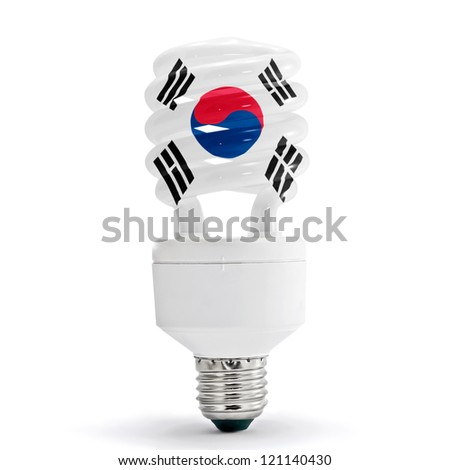 Flag of South Korea with energy saving lamp on white background. - stock photo