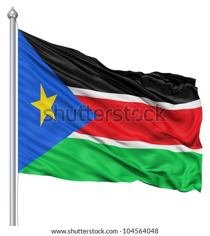 Flag of South Sudan with flagpole waving in the wind against white background - stock photo