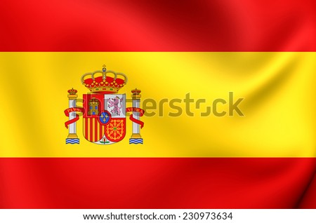 Flag of Spain. Close Up.    - stock photo