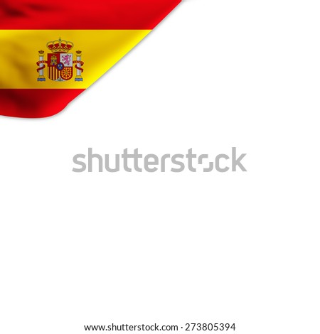 Flag of Spain located in the corner page - stock photo