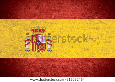 flag of Spain or Spanish banner on old metal texture background