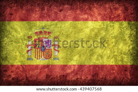 Flag of Spain painted onto a rough wall - stock photo