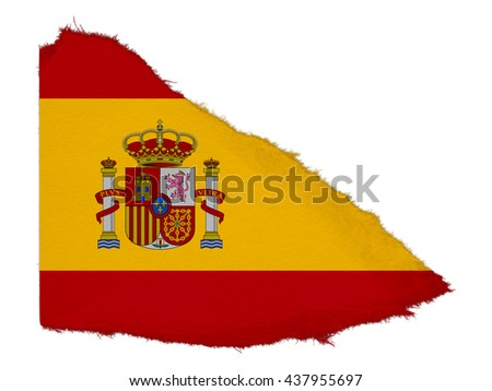 Flag of Spain Torn Paper Scrap Isolated on White Background