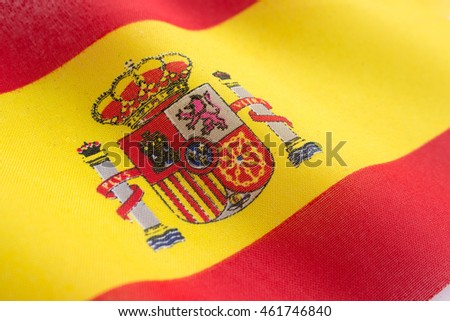 Flag of Spain with detailed fabric texture
