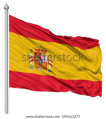 Flag of Spain with flagpole waving in the wind against white background