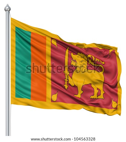 Flag of Sri Lanka with flagpole waving in the wind against white background