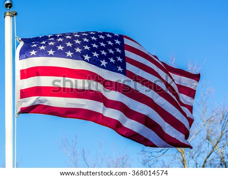 Flag of stripes, stars, sky, blue, red and white,