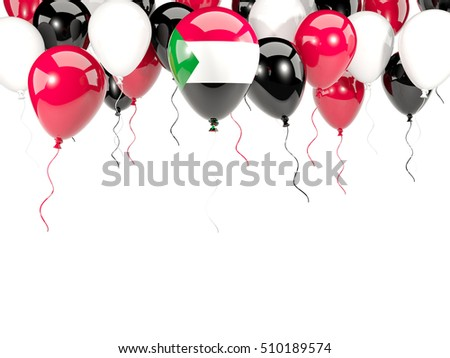 Flag of sudan, with balloons frame isolated on white. 3D illustration