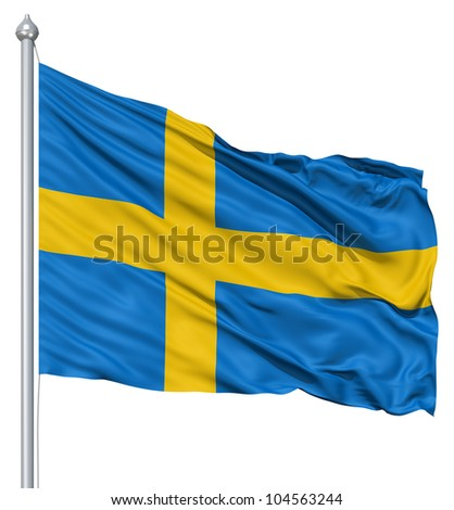 Flag of Sweden with flagpole waving in the wind against white background - stock photo