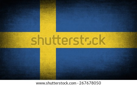Flag of Sweden with old texture.  illustration - stock photo