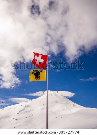 Flag of Switzerland and Canton Uri with the Alps as background - stock photo