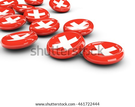 Flag of switzerland, round buttons on white. 3D illustration