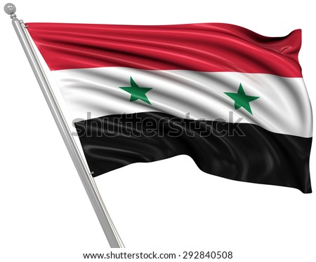 Flag of Syria , 3d rendered image. - stock photo