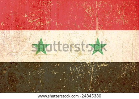 flag of syria grunge version - stock photo