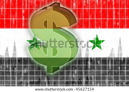 Flag of Syria, national country symbol illustration finance economy dollar - stock photo