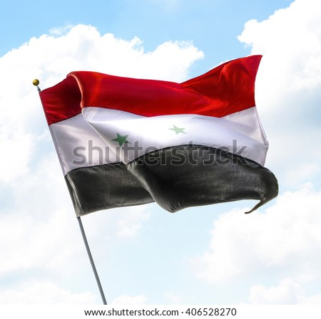 Flag of Syria Raised Up in The Sky - stock photo