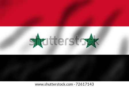 Flag of Syria waving, 3d illustration - stock photo