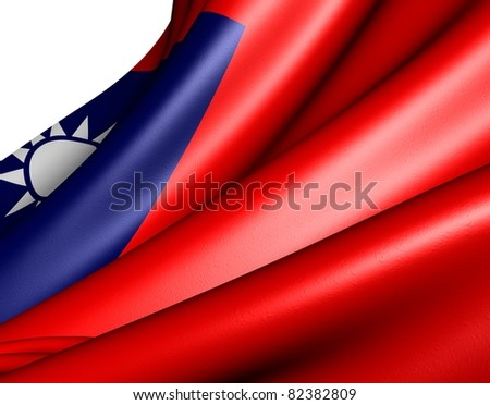 Flag of Taiwan against white background. Close up. - stock photo