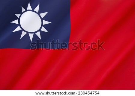 Flag of Taiwan - First used in mainland China by the KMT, the Chinese Nationalist Party, in 1917. Made the official flag of the Republic of China in 1928. Since 1949, the flag is mostly used in Taiwan - stock photo