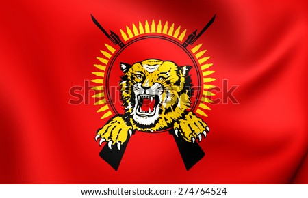 Flag of Tamil Eelam. Close Up.   - stock photo