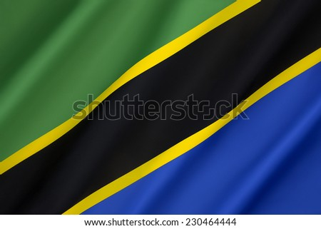Flag of Tanzania - Adopted in 1964 to replace the individual flags of Tanganyika and Zanzibar, it has been the flag of the United Republic of Tanzania since the two states merged together. - stock photo